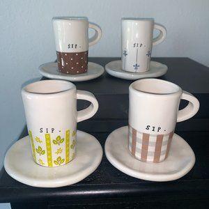 Rae Dunn espresso Sip mugs complete set by Magenta